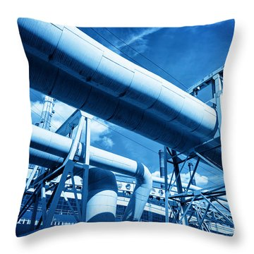 Pipes At Thermal Electic Power Station Throw Pillow