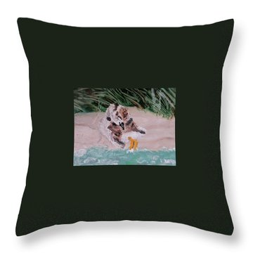 Piping Plover Chick 2 Throw Pillow