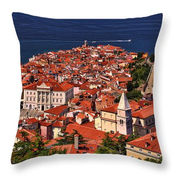 Piran From The Castle Wall Throw Pillow by Graham Hawcroft pixsellpix