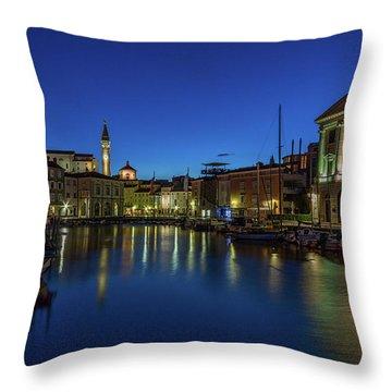 Throw Pillow featuring the photograph Piran Marina Dawn - Slovenia by Stuart Litoff