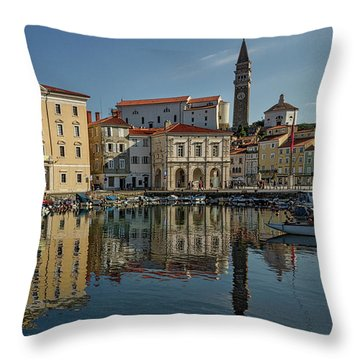 Throw Pillow featuring the photograph Piran Marina Reflections #2 by Stuart Litoff