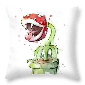 Piranha Plant Watercolor Throw Pillow
