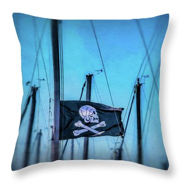 Pirate Flag Among Masts Throw Pillow