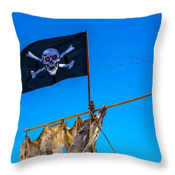 Pirate Flag And Moon Throw Pillow