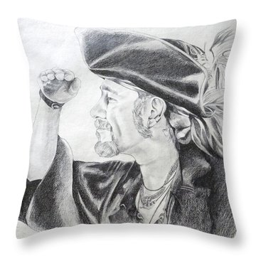 Pirate Mikey Portrait Drawing Throw Pillow