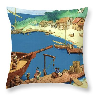 Pirate Port Throw Pillow