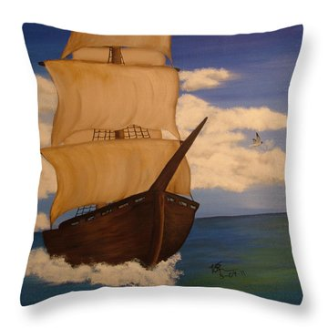 Pirate Ship With Gulls Throw Pillow by Vickie Roche