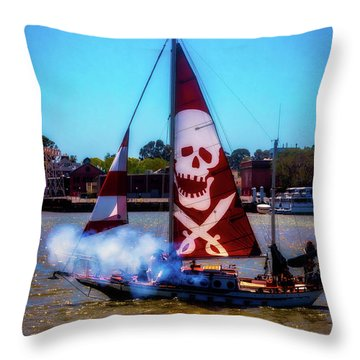 Pirate Ship With Red Skull Sail Throw Pillow