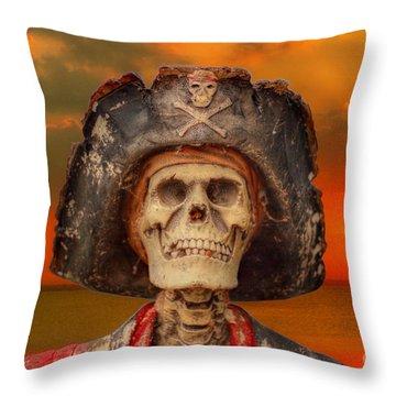 Pirate Skeleton Sunset Throw Pillow