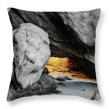 Pirate's Cave, Black And White And Gold Throw Pillow