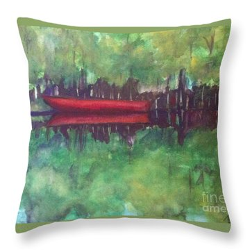 Pirogue On Bayou Lafourche Throw Pillow