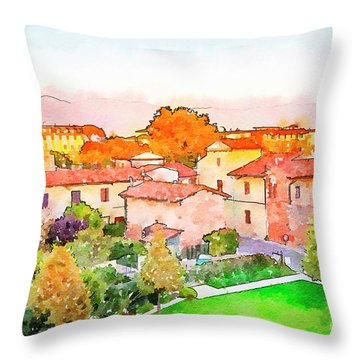 Pisa In Watercolor Style Throw Pillow