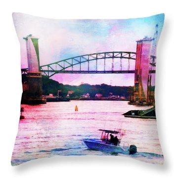 Piscataqua River Bridge From Harborwalk Park, Portsmouth New Hampshire Throw Pillow