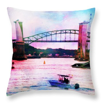 Piscataqua River Bridge From Harborwalk Park, Portsmouth New Hampshire Throw Pillow