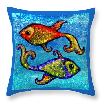 Throw Pillow featuring the painting Pisces by Agata Lindquist