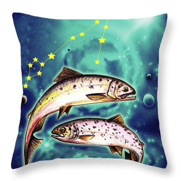 Pisces In The Sky Throw Pillow