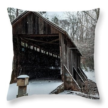 Pisgah Covered Bridge - Modern Throw Pillow