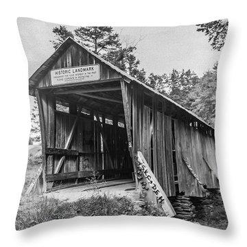 Pisgah Covered Bridge No. 1 Throw Pillow