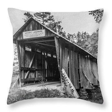 Pisgah Covered Bridge No. 1 Throw Pillow