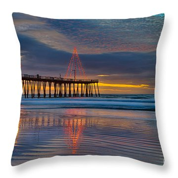 Pismo Beach Christmas Throw Pillow