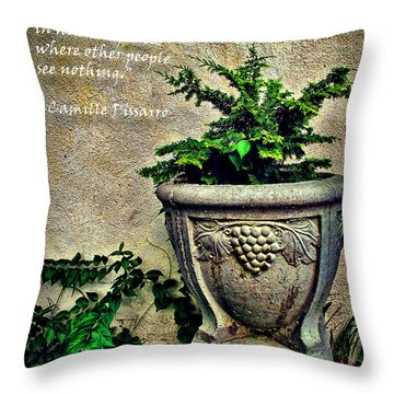Pissarro Inspirational Quote Throw Pillow by Joan  Minchak