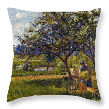 Pissarro: Wheelbarr., 1881 Throw Pillow by Granger
