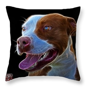 Pit Bull Fractal Pop Art - 7773 - F - Bb Throw Pillow by James Ahn