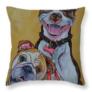 Throw Pillow featuring the painting Pitbull And Bulldog by Patti Schermerhorn