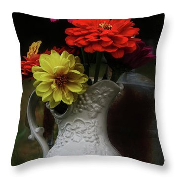 Pitcher And Zinnias Throw Pillow