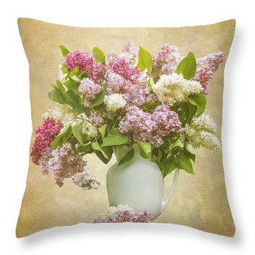 Pitcher Of Lilacs Throw Pillow