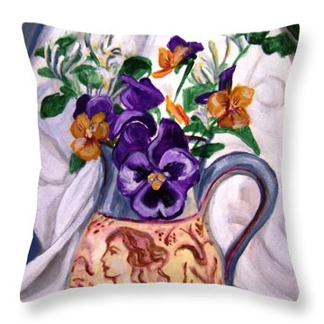 Throw Pillow featuring the painting Pitcher Of Pansies by Laura Aceto
