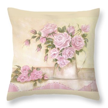Pitcher Of  Pink Roses  Throw Pillow by Chris Hobel