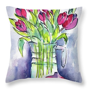 Throw Pillow featuring the painting Pitcher Of Tulips by Pat Katz