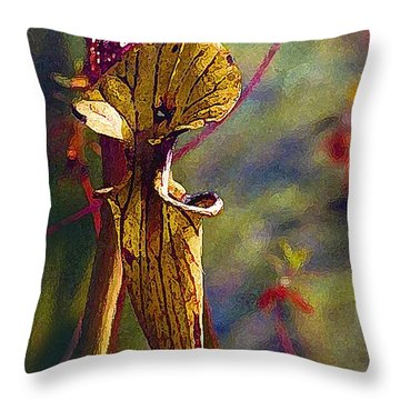 Pitcher Plant Throw Pillow by Janis Nussbaum Senungetuk