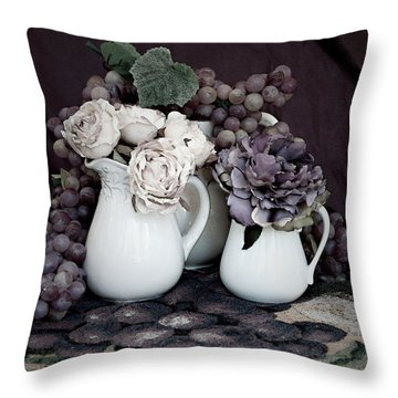 Throw Pillow featuring the photograph Pitchers And Tapestry by Sherry Hallemeier