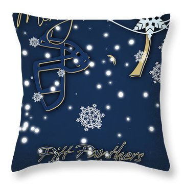 Pitt Panthers Christmas Cards Throw Pillow