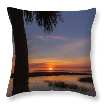 Pitt Street Bridge Palmetto Sunset Throw Pillow