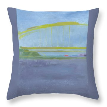 Throw Pillow featuring the painting Pittsburgh Bridge by Chris N Rohrbach