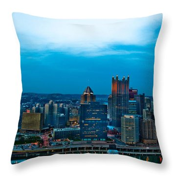 Pittsburgh In Hdr Throw Pillow by Kayla Yankovic