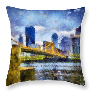 Pittsburgh North Shore Skyline Throw Pillow by Amy Cicconi