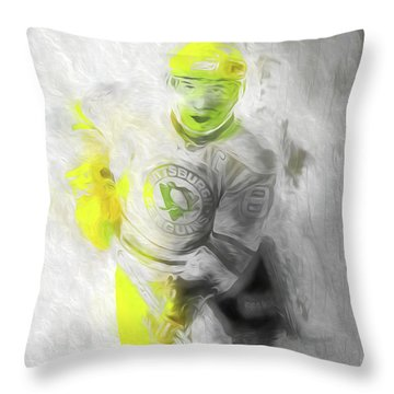Throw Pillow featuring the photograph Pittsburgh Penguins Nhl Sidney Crosby Painting Fantasy by David Haskett