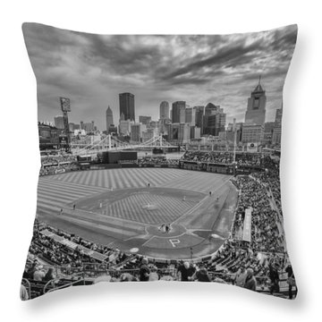Pittsburgh Pirates Pnc Park Bw X1 Throw Pillow by David Haskett