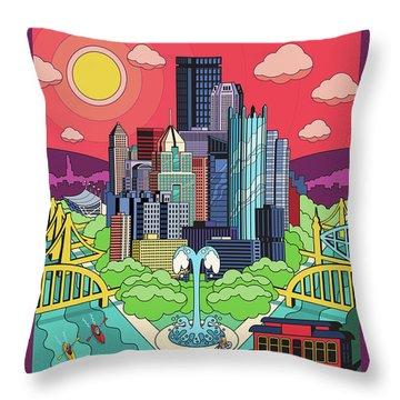 Pittsburgh Poster - Pop Art - Travel Throw Pillow