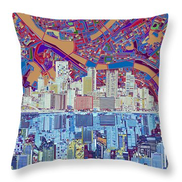 Pittsburgh Skyline Abstract 6 Throw Pillow