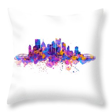 Pittsburgh Skyline Throw Pillow by Marian Voicu