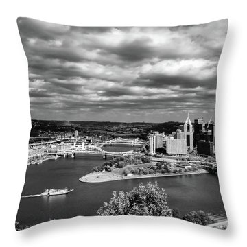 Pittsburgh Skyline With Boat Throw Pillow by Michelle Joseph-Long