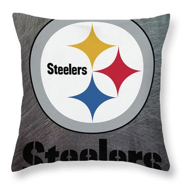 Pittsburgh Steelers On An Abraded Steel Texture Throw Pillow