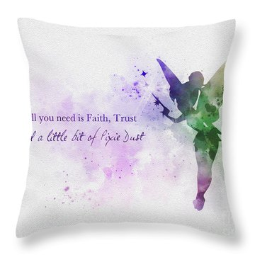 Peter Pan Quotes Throw Pillows Fine Art America