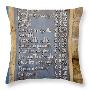Pizza Menu Florence Italy Throw Pillow