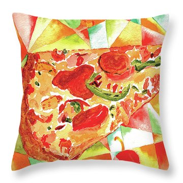 Throw Pillow featuring the painting Pizza Pizza by Paula Ayers